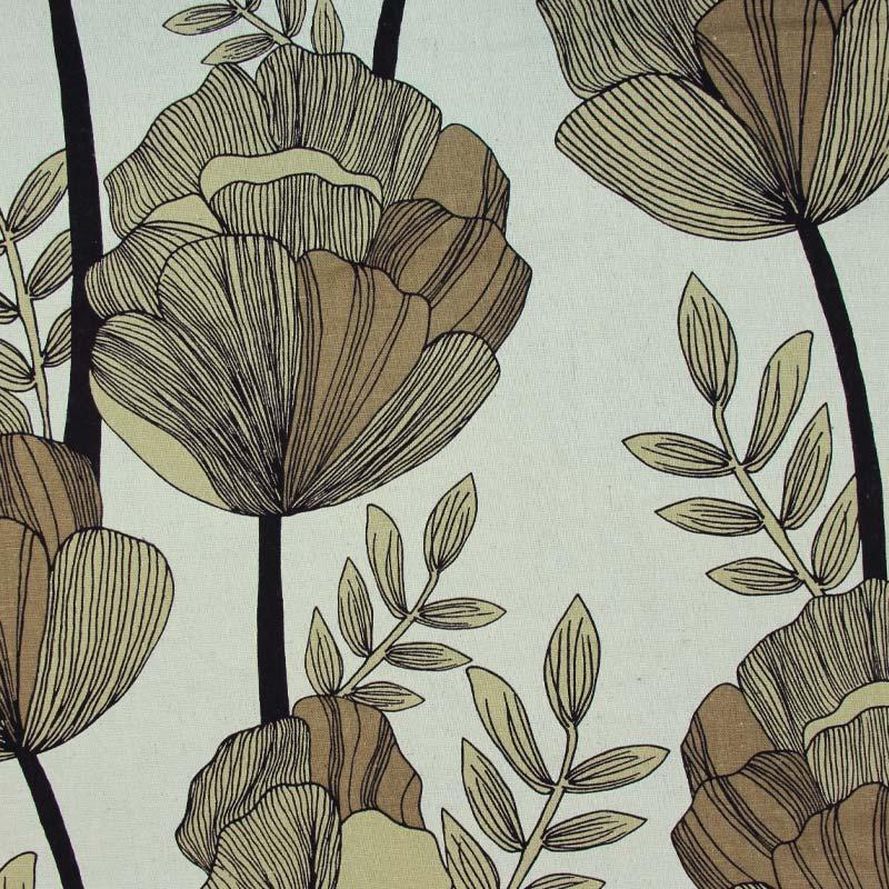 Linho Misto - Estampa Floral Marrom - 50cm x 140cm