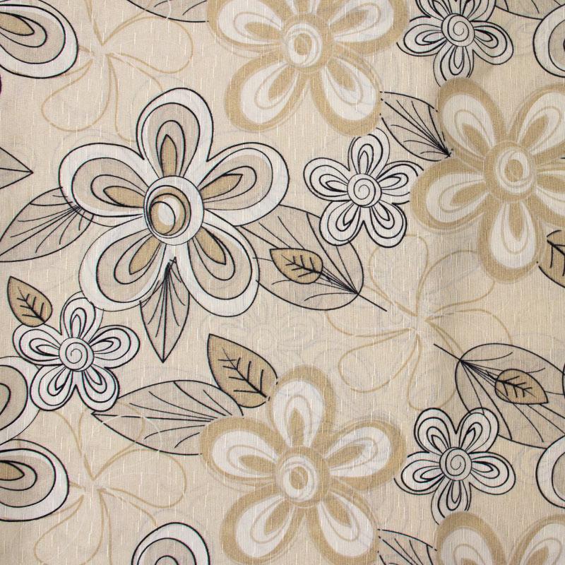 Tecido Gorgurinho - Flores Outline Fundo Creme - 50cm x 150cm