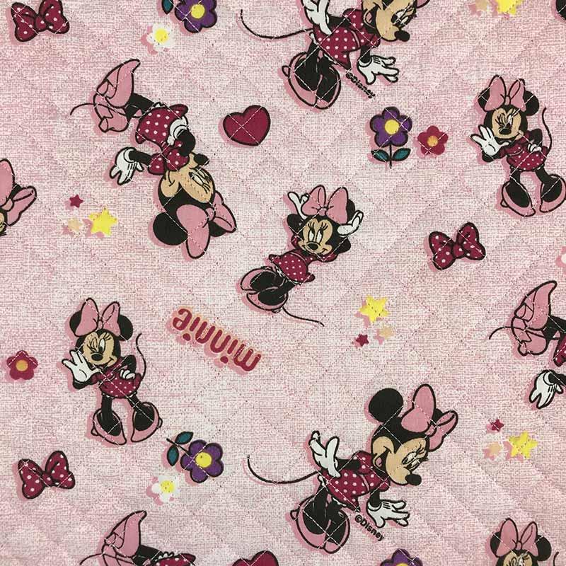 Tecido Matelassado Tricoline Digital Minnie Fundo Rosa Licenciado - 50cm X 150cm