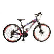 Bicicleta Vikingx Tuff X25 Preta/Pink Freio Disco Vmaxx Brancos