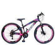 Bicicleta Vikingx Tuff X25 Shimano Disco Preta/Rosa Vmaxx 2019
