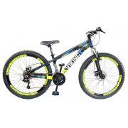 Bicicleta Vikingx Tuff X25 Shimano Disco Pto/Amarela Vmaxx 2019