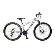 Bicicleta Vikingx Tuff X25 Shimano Freio A Disco Branco/Azul