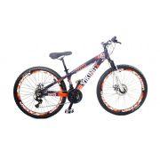 Bicicleta Vikingx Tuff X25 Shimano Freio A Disco com aro Vmax Roxo Fosco/Laranja