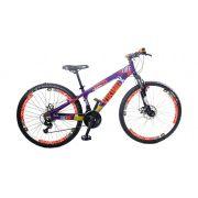 Bicicleta Vikingx Tuff X25 Shimano Freio A Disco com aro Vmax Violeta/Mostarda