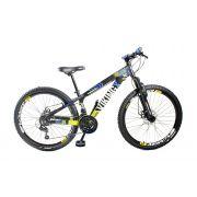 Bicicleta Vikingx Tuff X25 Shimano Freio A Disco Preto/Amarelo