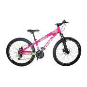 Bicicleta Vikingx Tuff X25 Shimano Freio A Disco Rosa/Verde