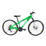 Bicicleta Vikingx Tuff X25 Shimano Freio A Disco Verde/Branco