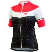 Camisa Ciclismo Feminina Free Force Happy - Preto e Vermelho