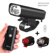 Lanterna Farol Bicicleta USB 400 Lumens Recarregável + Kit Sinalizadores Led