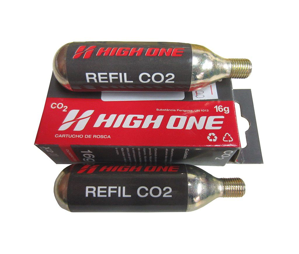 2 Cartuchos Refil Tubo Co2 Bike 16g High One Bomba Pneu