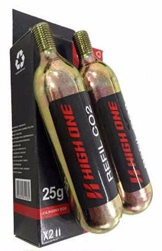2 Cartuchos Refil Tubo Co2 Bike 25g High One Bomba Pneu