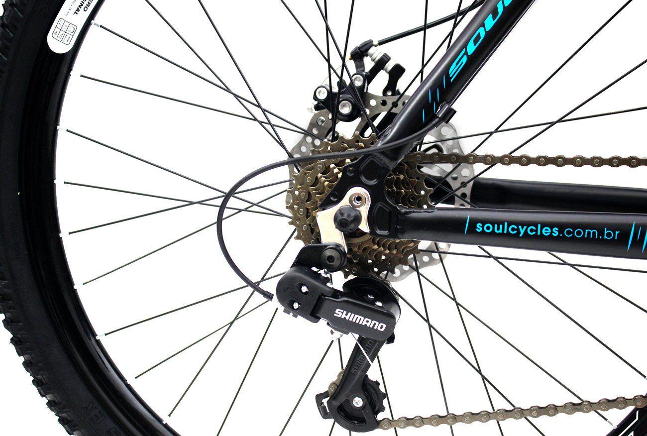 Bicicleta Aro 26 Freios a Disco Soul Black Rain 21v