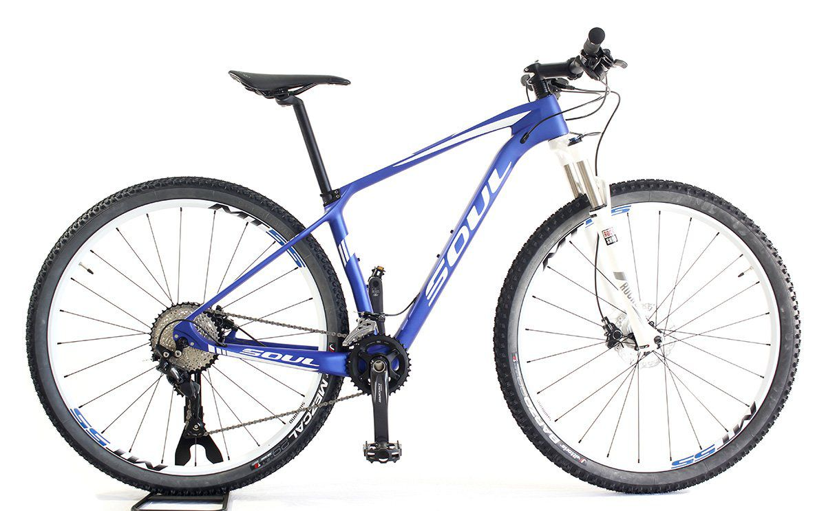 Bicicleta Aro 29 Soul Etna Carbon Shimano Deore Azul Branca Tam S