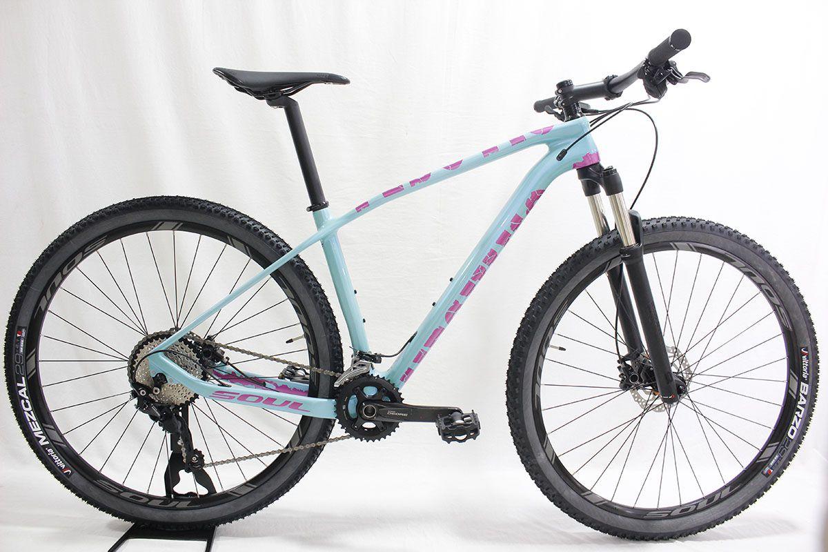 Bicicleta Aro 29 Soul Vesuvio Carbon Shimano Deore Azul Rosa Tam M