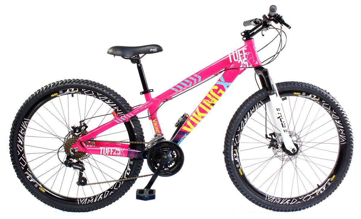 Bicicleta Vikingx Tuff X25 Shimano Disco Pink Preta Vmaxx