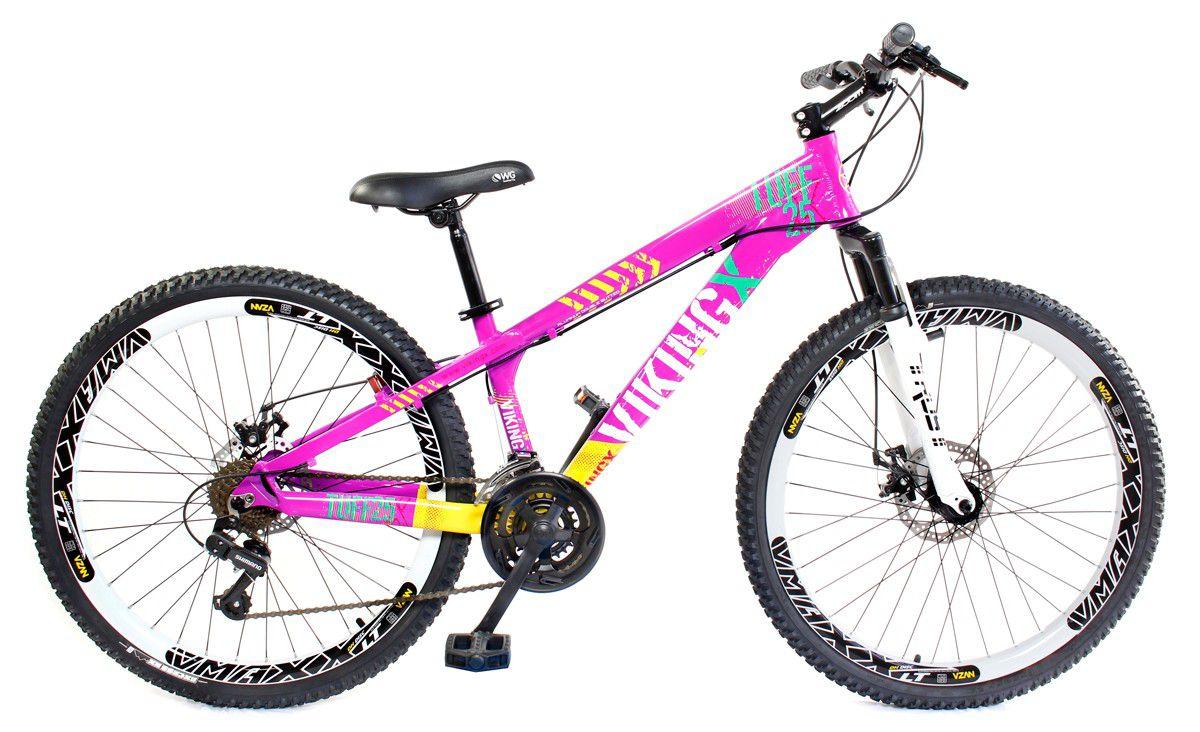 Bicicleta Vikingx Tuff X25 Shimano Disco Rosa Pink Vmaxx