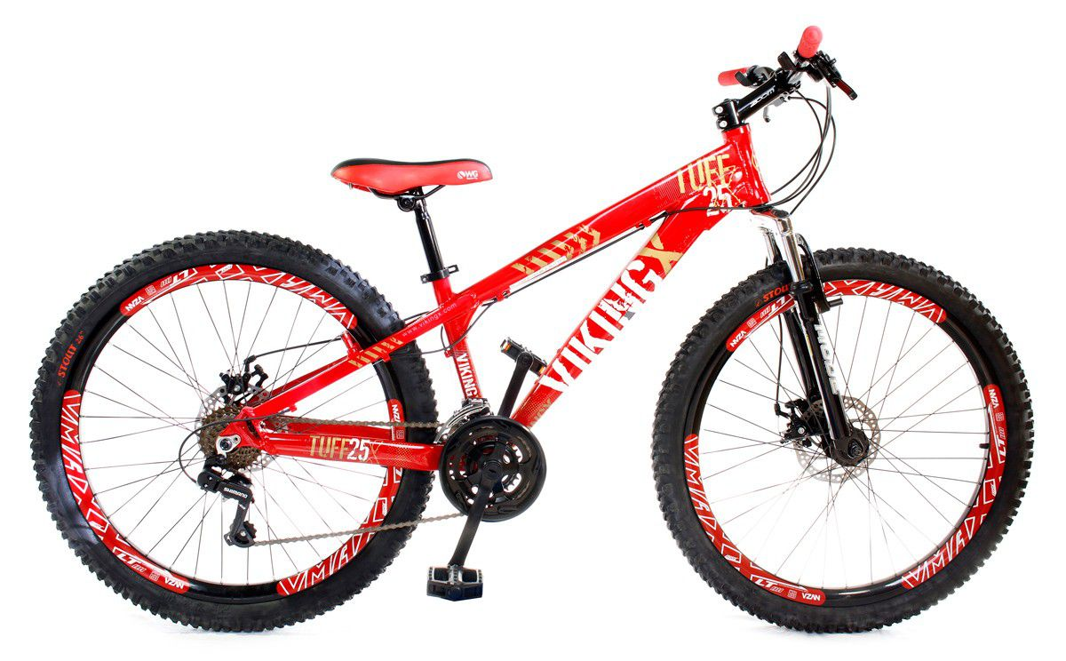 Bicicleta Vikingx Tuff X25 Shimano Disco Vermelha Vmaxx 2019