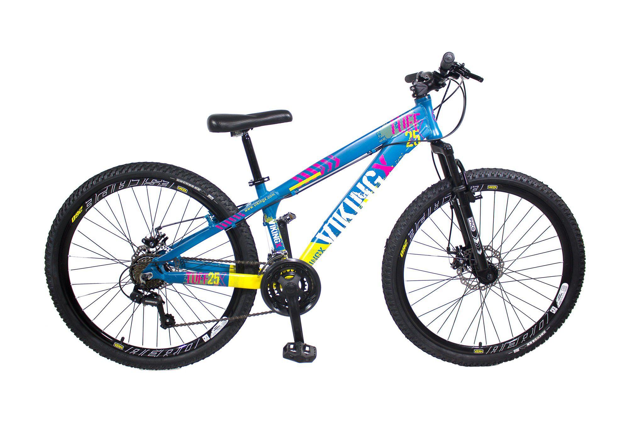 Bicicleta Vikingx Tuff X25 Shimano Freio A Disco Hidraulico Azul/Amarelo