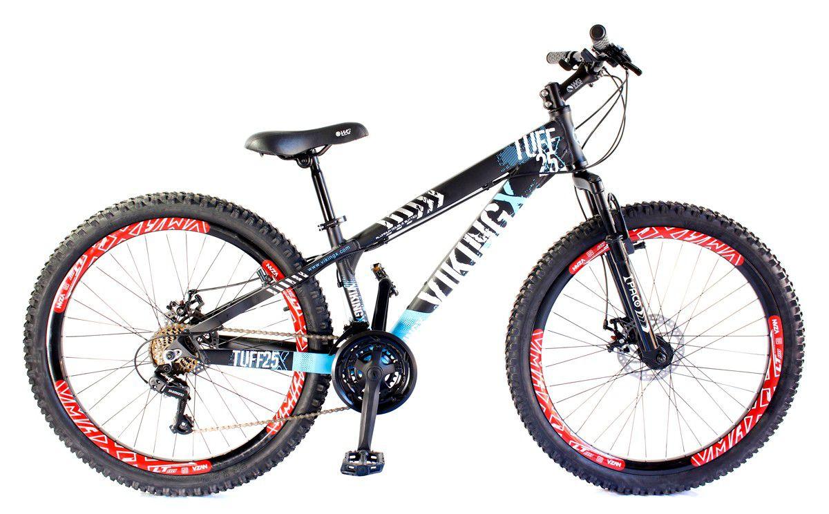 Bicicleta Vikingx Tuff X25 Shimano Freio a Disco Preta Azul Vmaxx