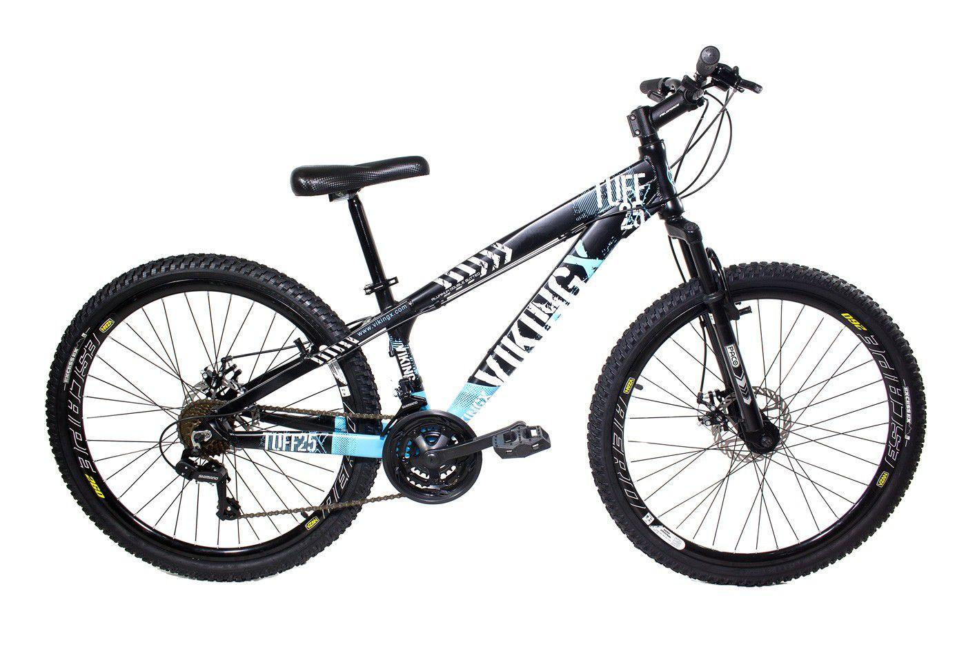 Bicicleta Vikingx Tuff X25 Shimano Freio A Disco Preto/Azul