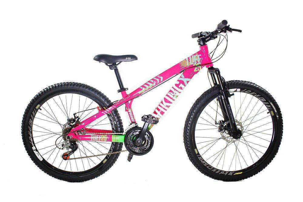 b92413d115 Bicicleta Vikingx Tuff X25 Shimano Freio A Disco Rosa Verde - Loja Bike  Session
