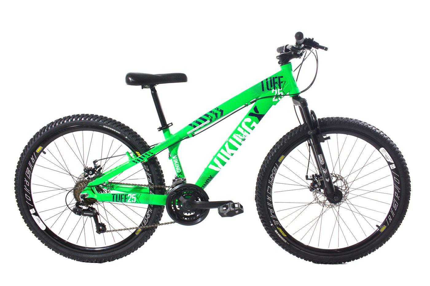Bicicleta Vikingx Tuff X25 Shimano Freio A Disco Verde/Preto