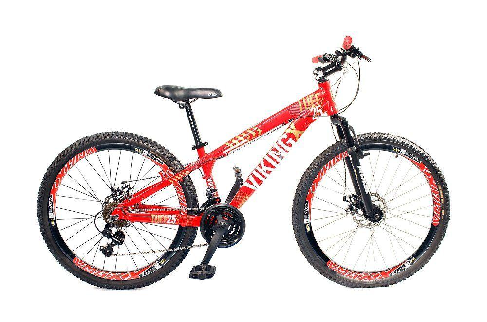 Bicicleta Vikingx Tuff X25 Vermelha Freio a Disco com aros Vmaxx Pretos
