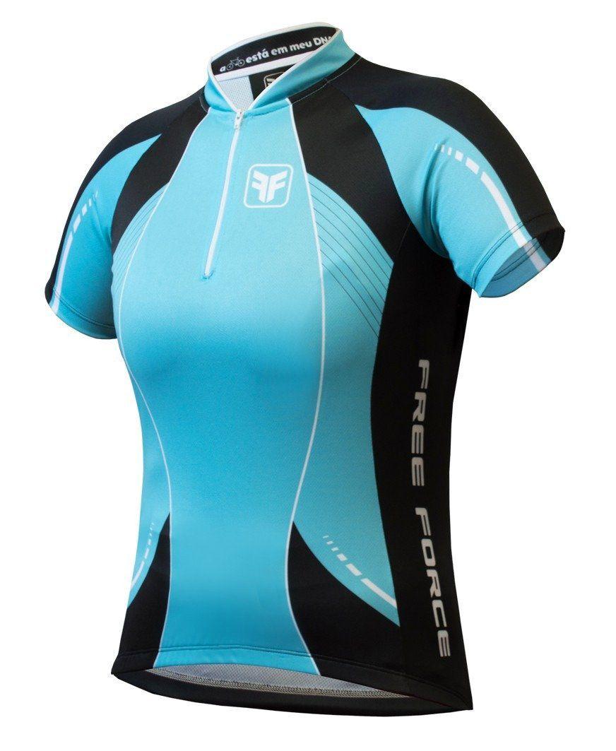Camisa Ciclismo Feminina Free Force Aurora - Azul Turquesa