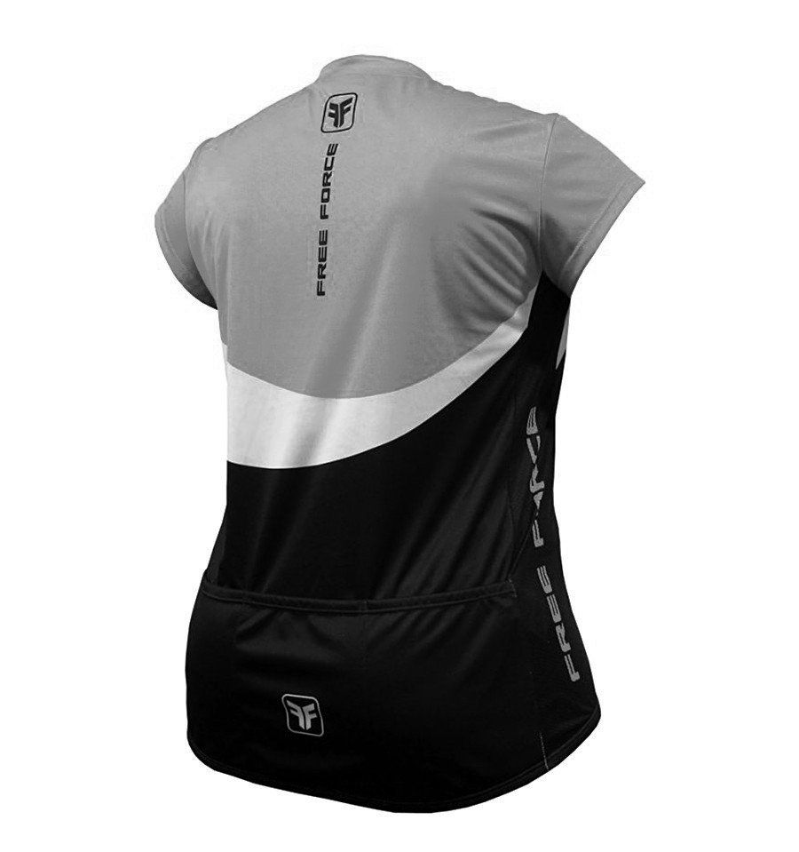 Camisa Ciclismo Feminina Free Force Curvy  Plus Bloom - Preto e Cinza