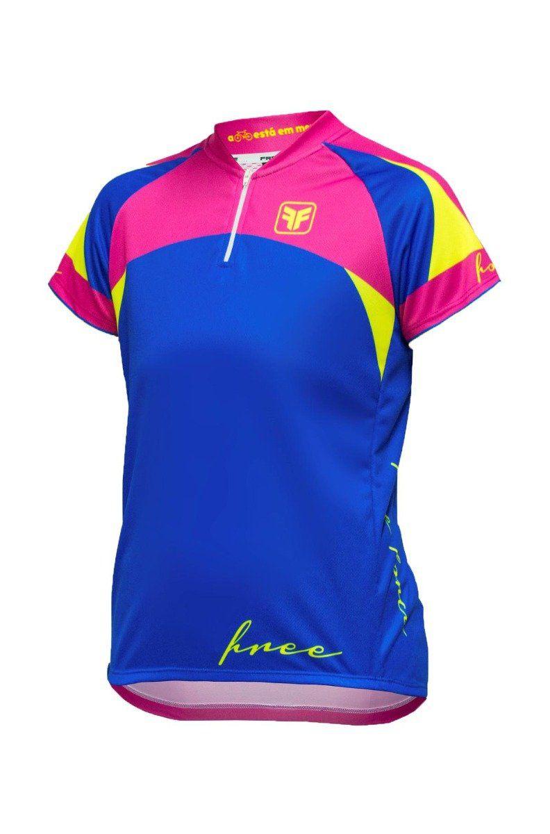 Camisa Ciclismo Infantil Feminina Free Force Majestic - Azul e Rosa