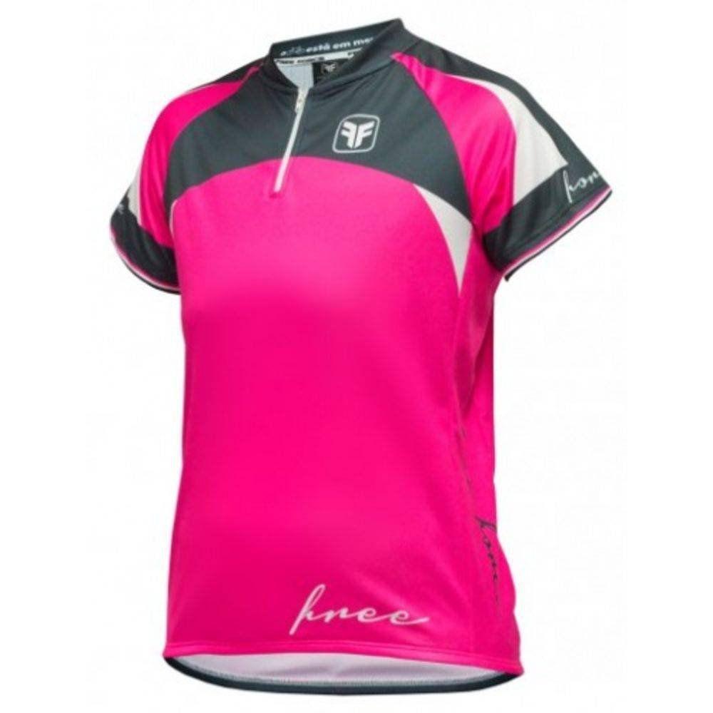 Camisa Ciclismo Infantil Feminina Free Force Majestic - Rosa e Preto