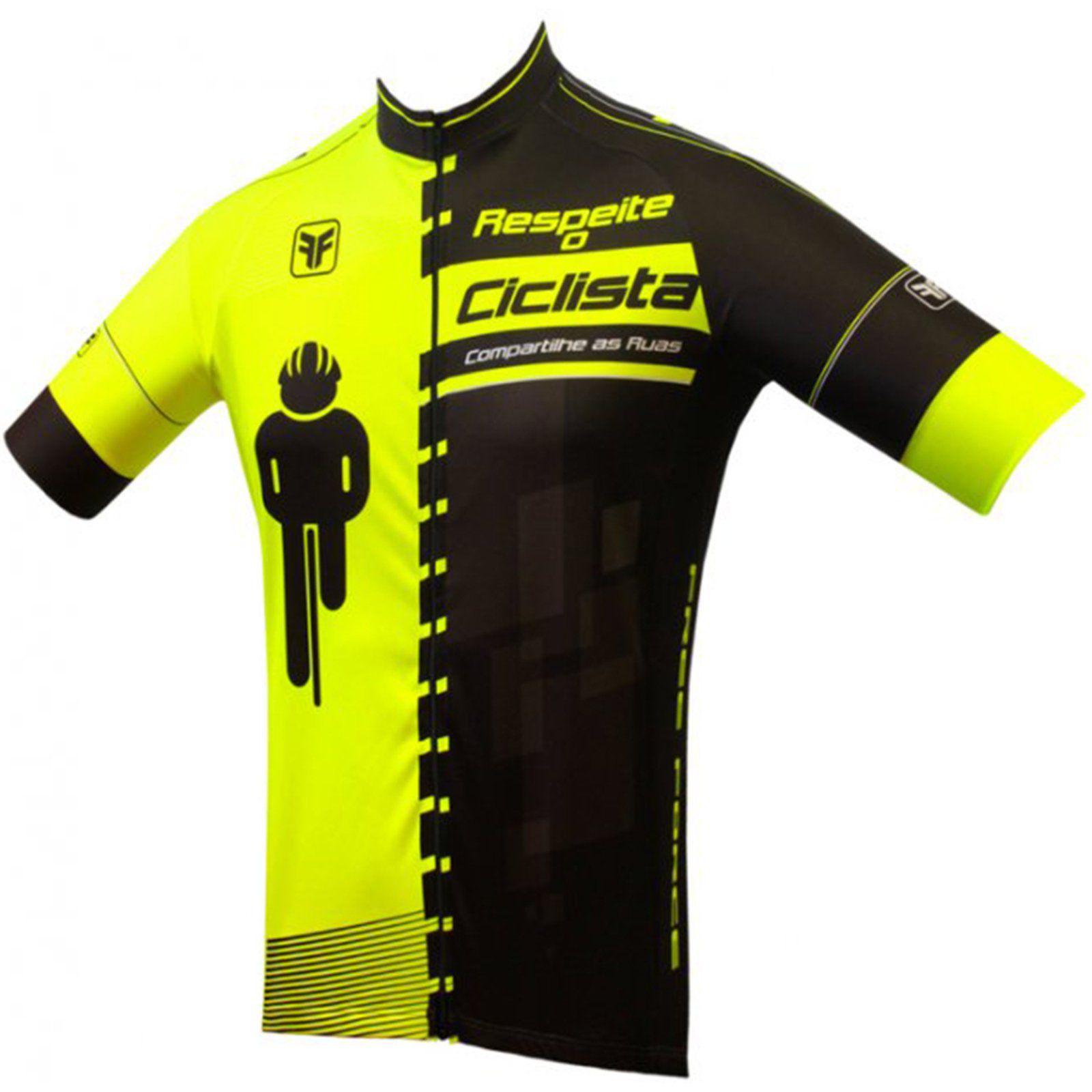 Camisa Ciclismo Infantil Masculina Free Force Transit - Preto e Amarelo Fluorescente
