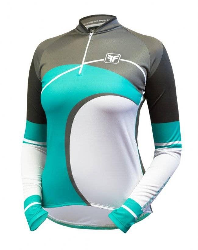 Camisa Ciclismo Manga Longa Free Force Wave- Azul Turquesa