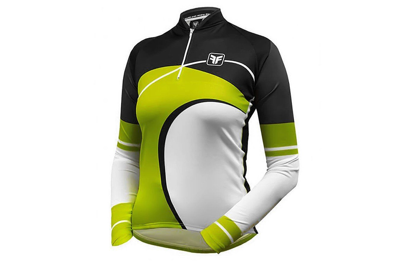 Camisa Ciclismo Manga Longa Free Force Wave- Verde e Preto