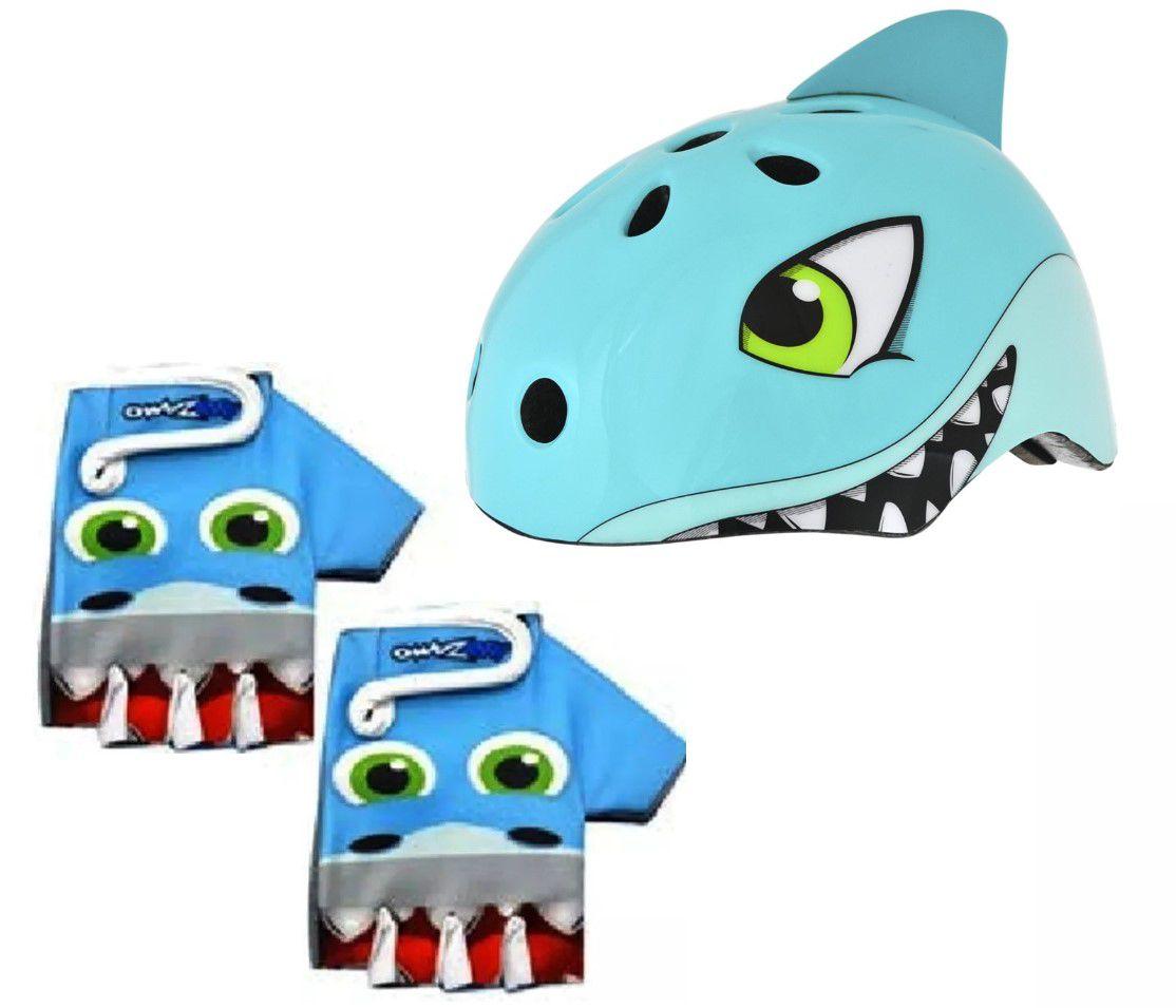 Capacete Infantil Shark Tubarão Kidzamo + Luvas Tubarão Kit