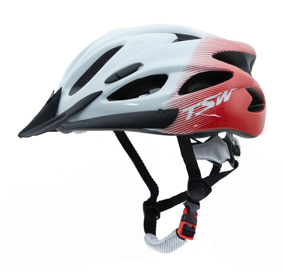 Capacete Ciclismo TSW Raptor C/ Led e Viseira - Tam G