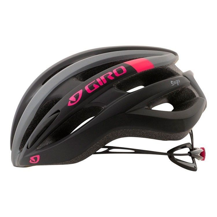Capacete Feminino Giro Saga MTB Speed Preto, Cinza e Rosa
