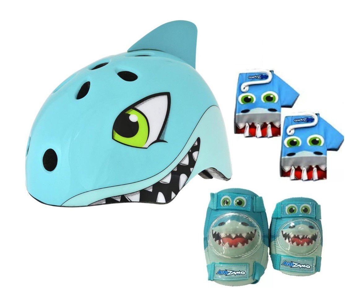 Capacete Infantil Tubarão Kidzamo + Luvas + Joelheira + Cotoveleira