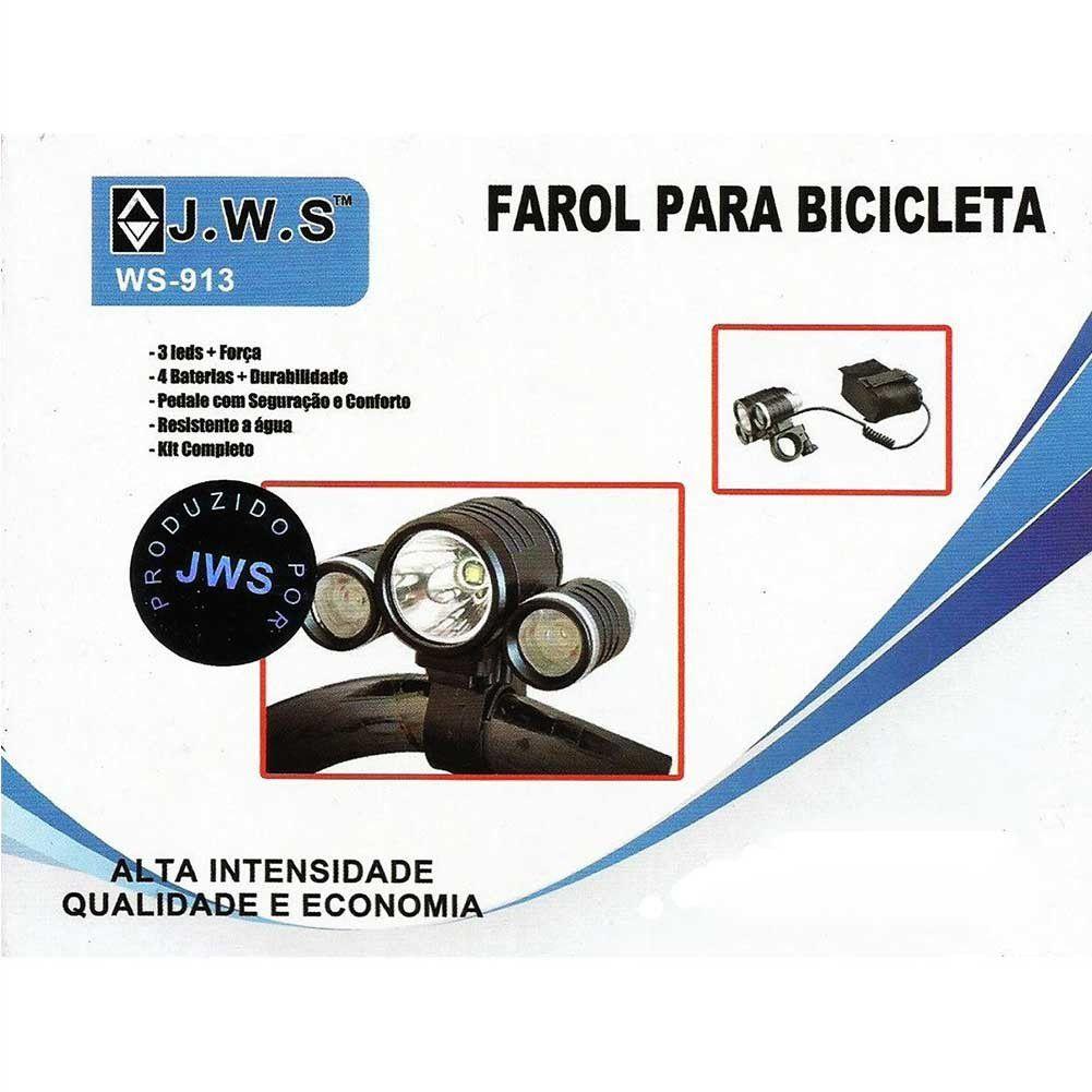 Farol Bicicleta Ws-913W + Sinalizador de Bike