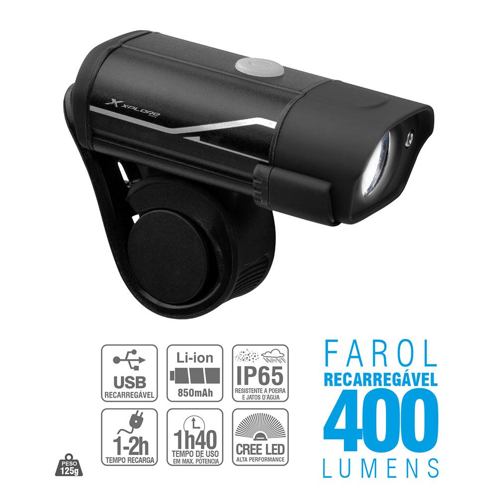 Farol Bike X-Plore Led Cree 400 Lumens Recarregável Bateria Interna