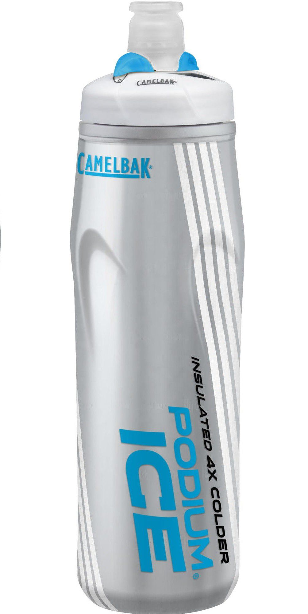 Garrafa Squeeze Camelbak Podium Ice 4x Mais Térmica 620 Ml Cinza/Azul
