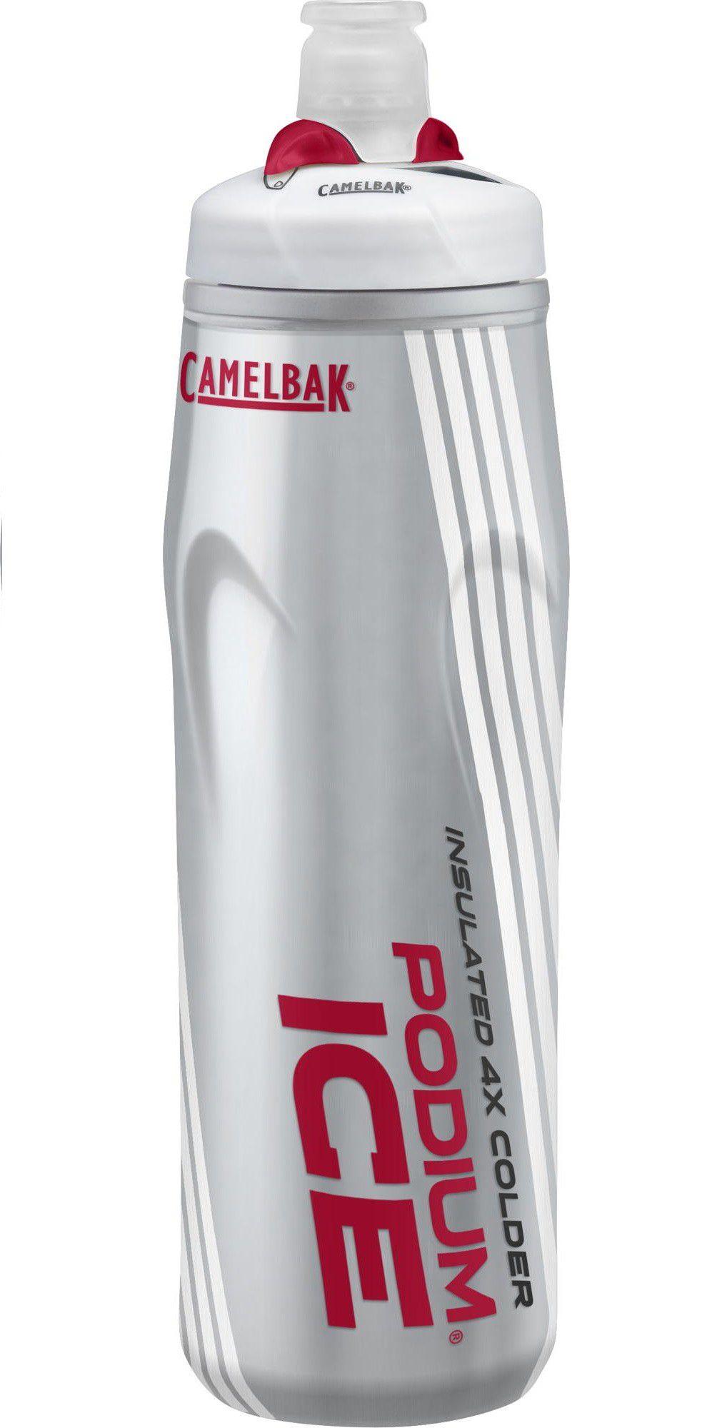 Garrafa Squeeze Camelbak Podium Ice 4x Mais Térmica 620 Ml Cinza/Vermelha