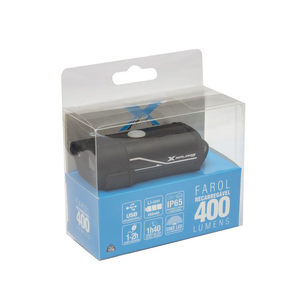 Kit Iluminação Bike Farol USB 400 Lumens X-Plore + Sinalizador Led