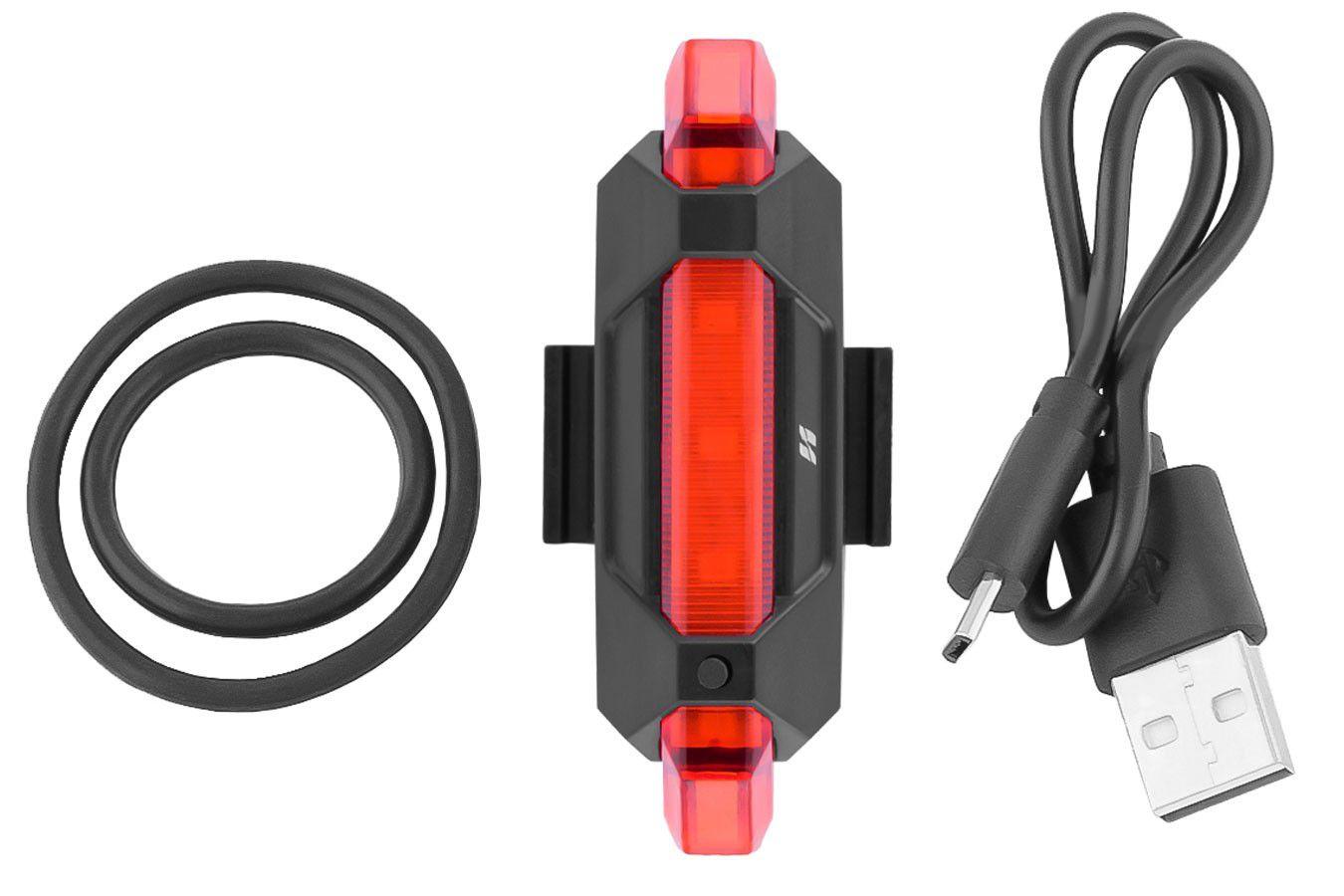 Lanterna Traseira Bicicleta Vermelha Pisca Usb Recarregável