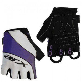 Luva Ciclista Arx Basic Short Finger Masculina Branca Preta e Roxa - Tamanho P