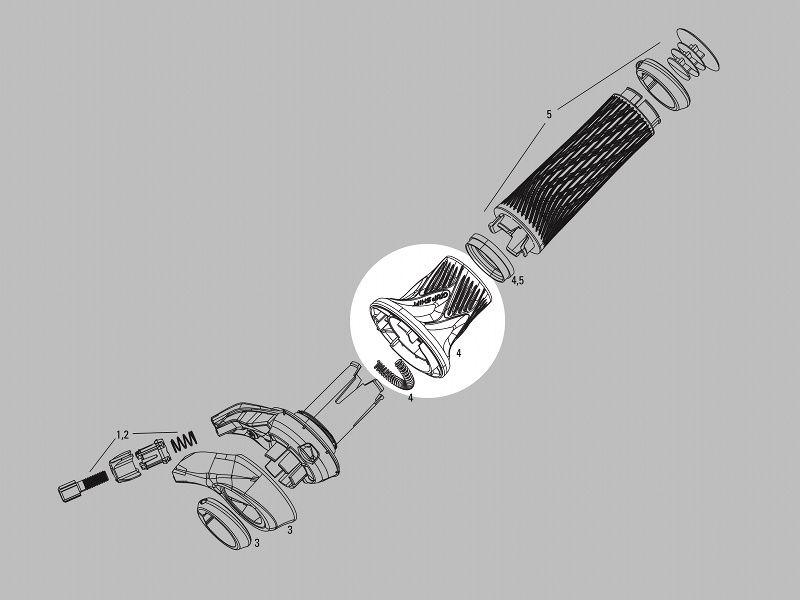 Manopla de Reposição Sram GripShift XX X0 GX Esquerdo 2V 3V