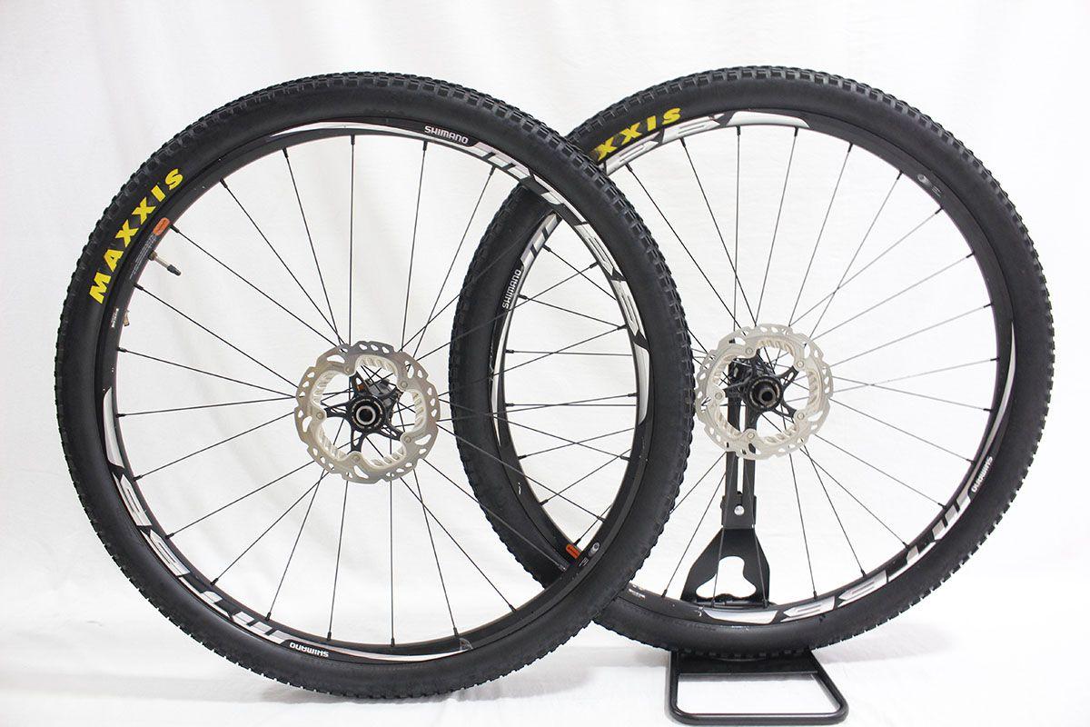 Rodas Aro 29 Shimano MT66 Tubelles Eixo 12/15mm c/ Discos + Pneus Maxxis Race TT 29x2.0