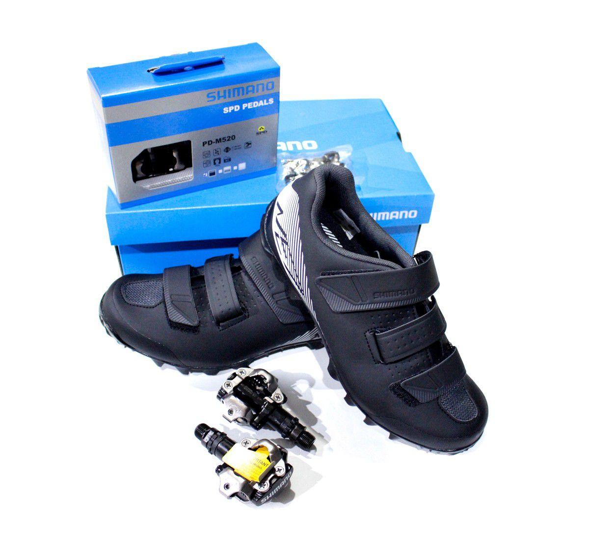 Sapatilha Shimano SH-ME200 Preta 3 Velcros mais Pedal M520