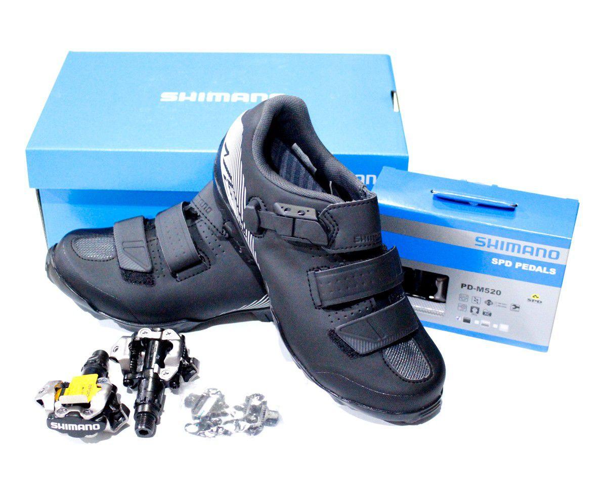 Sapatilha Shimano SH-ME300 Preta com Velcro e Micro Ajuste mais pedal M520